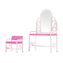 Dressing Table & Chair Accessories Set For Barbies Dolls Bedroom Furniture Brand New
