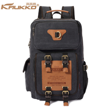 "KAUKKO Durable Canvas Backpacks with 2 Side Pockets School Fit 15.6"" Laptop Bookbag Satchel short trip Bags Straps Reinforced"