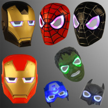 LED Glowing Superhero Children Mask Spiderman Iron Man Hulk Batman Party Cartoon Movie Mask  For Children's Day  Cosplay
