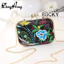 2017 Fashion Colorful Flowers Party Ladies Evening Clutch Bags Appliques Chain Women Shoulder Crossbody Bags Bolsa Feminina