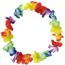 12pcs/lot Assorted Colors Decorative Hawaii Silk Flower Leis Fancy Dress Party Tropical Themed Celebrations Wedding Decors(China)
