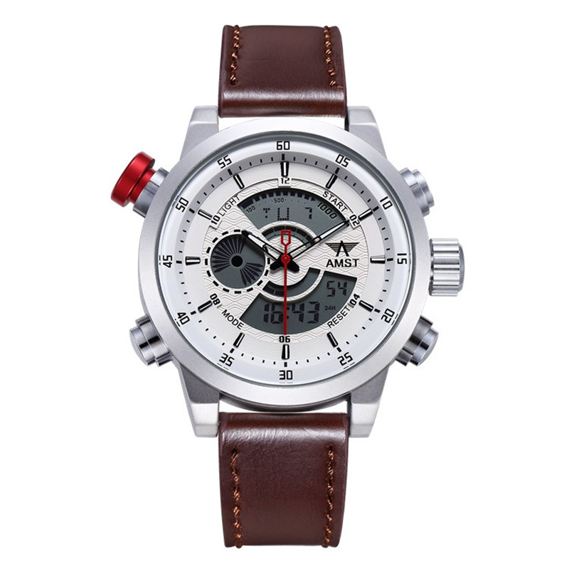 2018 AMST Brand Quartz Watch for men fashion LED dual display military sports watches simple leather strap waterproof clock 3013<br>