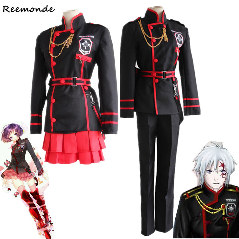 Anime D.Gray-man Cosplay Costumes Linali Lee Allen Walker Top Pants Coat Jacket Skirt School Uniform For Men Boys Girls Full Set