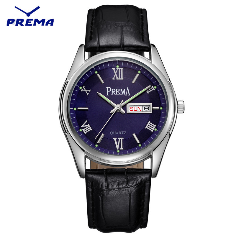 Watch Men PREMA Quartz Reloj Hombre Stainless Steel Watch Band Roman Numeral Big Dial Calendar Display Relogio Masculino<br>
