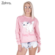 Zohra Fashion Pussy Power Kitty Printed Pink lovely Hoodies Long Sleeve Sudaderas Mujer Pullovers Hoodie Women Sweatshirts
