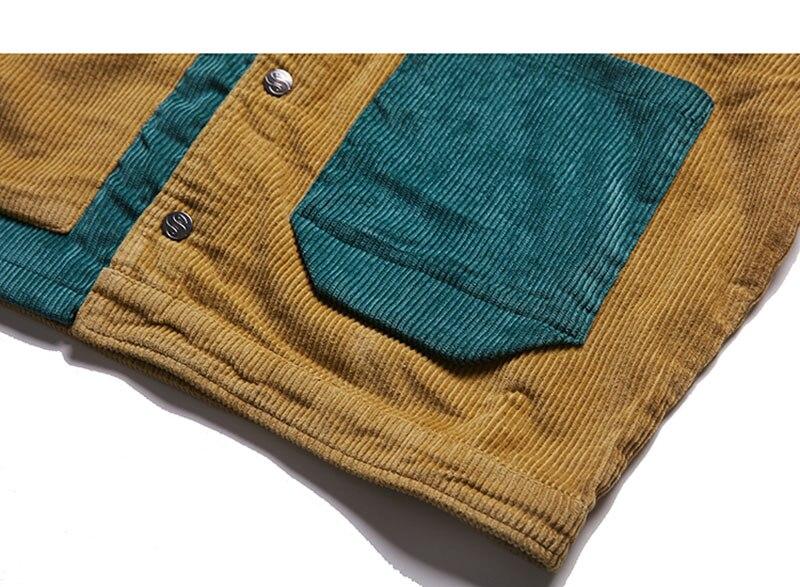 Aolamegs Jacket Men Corduroy Patchwork Men\`s Jacket Pockets High Street Fashion Casual Outwear Men Coat 2018 Autumn Streetwear (7)