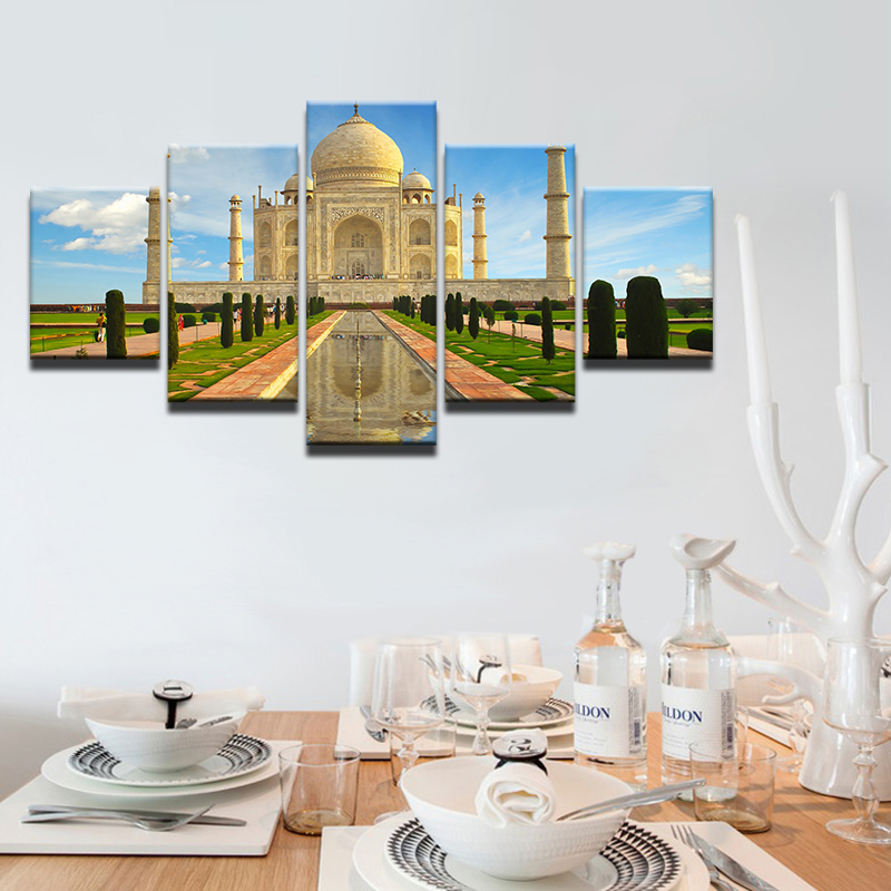Modern-Abstract-5-Panel-Taj-Mahal-Reflection-Landscape-Picture-Painting-On-The-Canvas-For-Frames-Drop