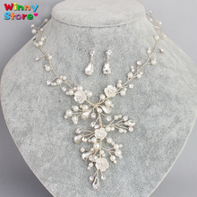 Europe Luxury Flower Crystal Necklace Earring Set Pearl Jewellery Sets For Women Rhinestone Daisy Floral Wedding Bridal Jewelry