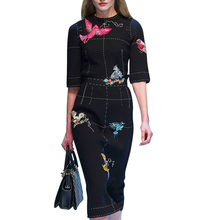 Runway Dress 2017 New  Women's High Quality Half Sleeve Luxury Birds Embroidery Beading Sequin Black Knee Length Dress SAD242
