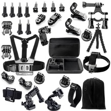 Head Chest 3-way Adjustment Base Auto Suction Cup Mount Monopod Wrist Sport Camera Accessories Kits For GoPro Hero 3 4 5 Camera(China)