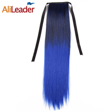 AliLeader Long Straight Clip In Hair Ponytail Hairpieces Blonde Gray Blue Green Red Synthetic Ombre Pony Tail Hair Extensions(China)