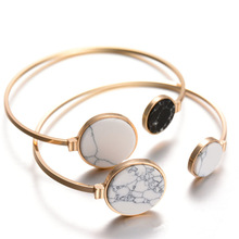 H:HYDE 2017 New Brand White Black Faux Marble Stone Round Geometric Bangle Gold Circle Cuff Bangle Bracelet For Women Bijoux