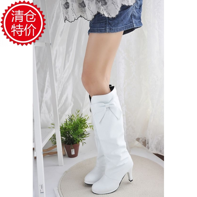 Spring and autumn boots black and white red dance boots platform high-heeled high boots plus size shoes<br><br>Aliexpress
