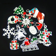 Wholesale 30pcs Colorful Mixed Christmas Snowflake Gift Enamel Charms Pendant Jewelry Making Hanging Art Small Handmade Crafts