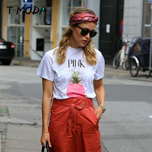 Buy T MODA Hot Sale 2017 Fashion Pink Pineapple Printed White Tops Cute Tees Fruits Printed T Shirt Casual Women's Plus Size T-Shirt for $6.90 in AliExpress store