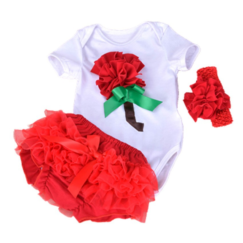 WENDYWU Cotton Soft Clothing Infant Bodysuit Pants Band 3pcs Layette Sets Flower Jumpsuit Outfit Set Summer Kids Clothes Set<br><br>Aliexpress