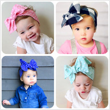 New Fashion 18colors Big bowknot Headband Baby girls Bow hair band children kids dot Cotton turban Head Wrap Hair Accessories D1(China)