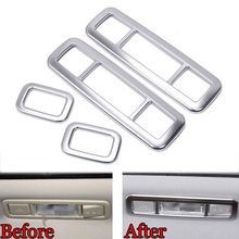 BBQ@FUKA 4x Car Interior Roof Light Reading Lamp Frame Cover Trim Sticker Silver ABS Fit  for Range Rover Evoque 2012-2015