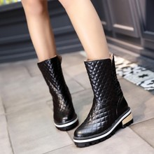 Fashion Female Boots Square Heeled Spring And Autumn Round Toe Flat Boots Winter Shoes Women' Sexy Shoes Boots Plus size