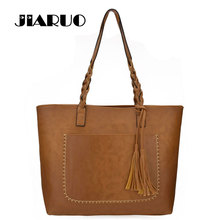 JIARUO Brand Tassel Pendant Design Casual Handbag Women PU Leather Vintage Shopper Bag Girls Beach Tote Bag Ladies Shoulder Bag()
