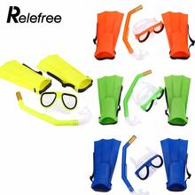 Relefree Swimming Diving Mask Breathing Tube Fins Water Sports Diving Rubber Children Swimming Snorkel Mask Goggles Glasses(China)