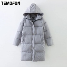 Buy TEMOFON Winter Women Cotton Long Parka Jackets Basic Hooded Wide-waisted Warm Outerwear Jackets New Fashion Female Coats EJT516 for $26.93 in AliExpress store