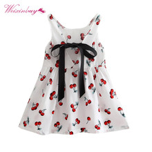 2017 New Children Kids Summer Dresses Kids Teens Sleeves Printing Pattern cotton Girls dress clothes Vestidos Dresses For Girls(China)