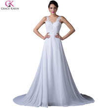 Grace Karin Cap Sleeve Sexy Backless Formal White Evening Dress Long Prom Celebrity Dinner Dress Women Debut Party Gowns 6252