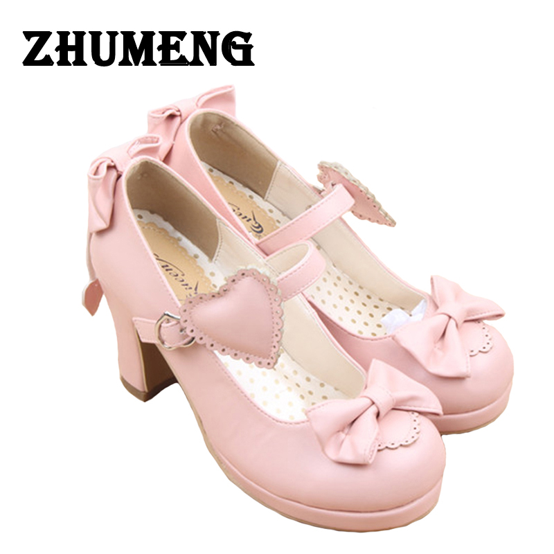 Womens High Heels Lolita Shoes Cute Bow Tie Sweet Lolita Girls Love Solid Round Princess Shoes Soft Pumps Shoes Woman High Heel<br>
