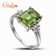 Wholesale Jewelry Solid 14k White Gold Natural Peridot Gem Ring, Free Shipping, Fashion
