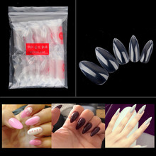 600pc Oval Stiletto Pointy Full False Nail Tips Almond Shape Acrylic Gel Claw