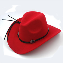 Fashion Wool Child Kids Western Cowboy Hat For Boy Girl Cowgirl Jazz Church Cap With Leather Toca Sombrero Cap 4-9 Years(China)