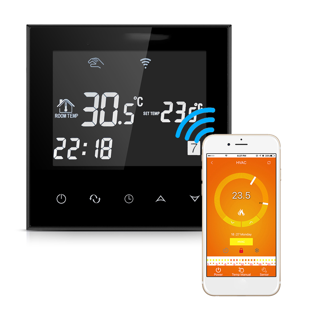 Electric Heating Programmable Thermostat WiFi Touch Screen Room Temperature Controller with LCD Display 16A 200-240V<br>
