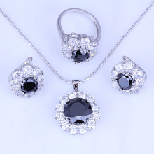 Simple and Elegant Flower Black Imitation Onyx & Cubic Zirconia Silver Color Jewelry Sets Free Jewelry Bag H0255