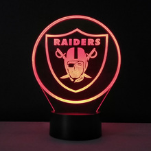 3D Illusion Lamp NFL Team Logo Oakland Raiders Baby Nightlight Methacrylate plate Lampe Enfant Multi-colored Dry Batteries Lampy