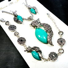 1 set Fashion Jewelry lot Hot major Vintage Antique Silver Fox turquoise Necklace Pendant Earring For Women Jewelry Sets LB151