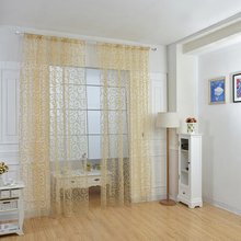 New 1pc European style jacquard design home decoration modern curtain tulle fabrics organza sheer panel window