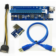 25pcs PCI-E PCI E Express 1X to 16X Riser Card + USB 3.0 Data Cable SATA 15 Pin to 6 Pin Power Cable VER 006C For bitcoin mining(China)