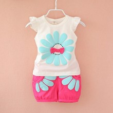BibiCola 2017 summer baby girls clothing sets bow sunflower children cotton clothes kids casual suit toddler T-shirt + shorts