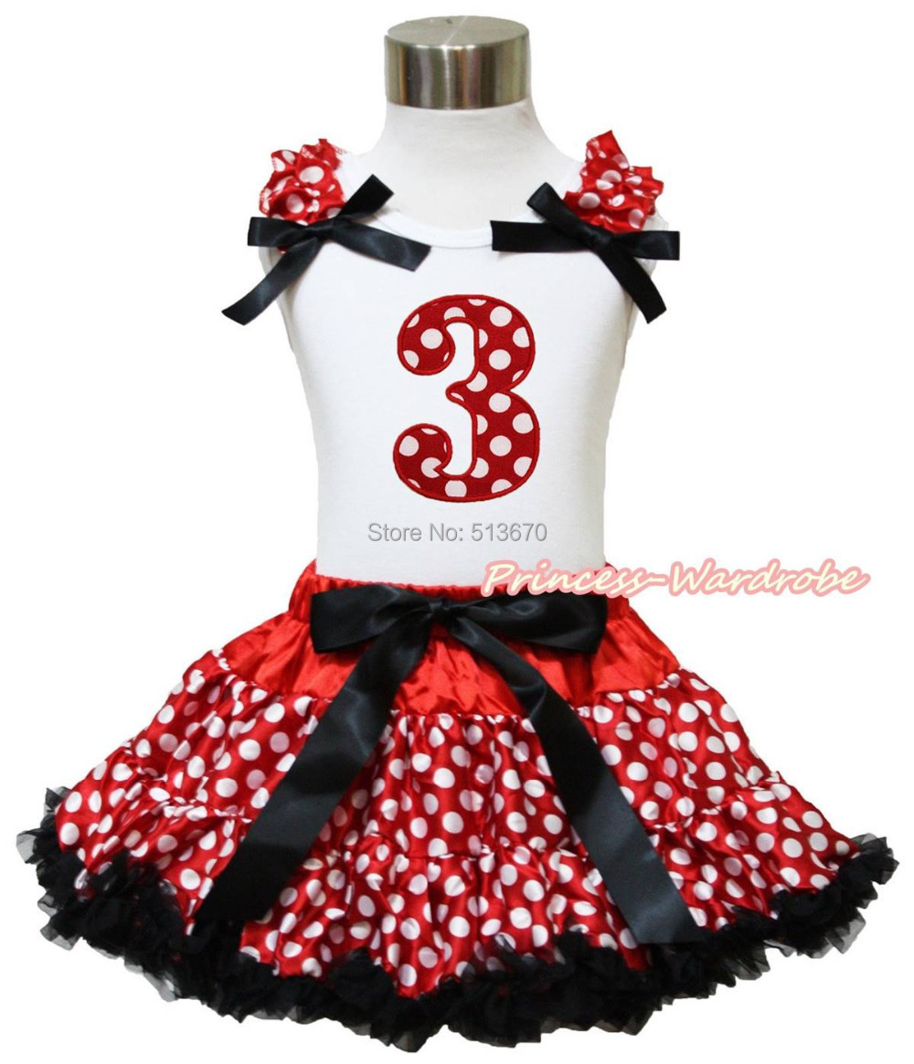 Red White Dot 3RD Birthday White Top Minnie Girl Skirt 1-8Y MG1194<br><br>Aliexpress