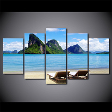 5 Piece Framed HD Printed Blue Sky Tropical Sea Coast Home Decor Seascape Poster Picture Canvas Wall Art Painting(China)