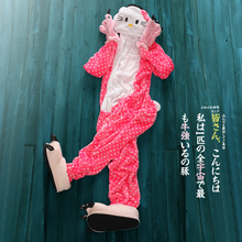 with shoes+Claws novelty home hello kitty cat flannel animal one piece footed sleepwear cartoon sleep clothes pajama sets(China)