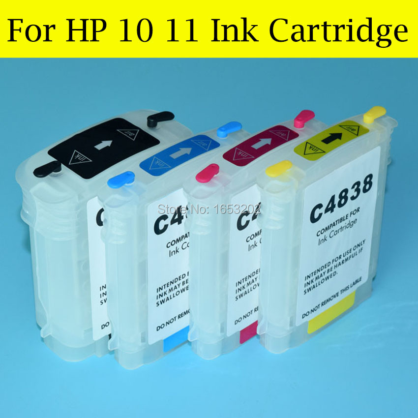 4 Color/Set Empty Refill Ink Cartridge For HP 10 11 With ARC Chip For HP Officejet 9110 9120 9130 K850 CP1700 Printer<br><br>Aliexpress