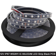 5M 12V WS2811 Addressable RGB Pixel LED Strip Black PCB 5050 SMD 60LED/M IP67 Waterproof Tape External 1 2811 ic Control 3 LEDs