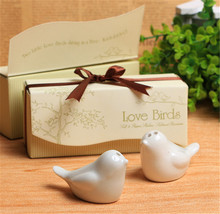 Promotions Wedding favor 2000pcs=1000boxes Ceramic Wedding Gifts Favors for Guests Love Birds Salt and Pepper Shakers ,Best gift