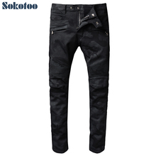 Sokotoo Men's black camouflage pleated biker jeans for moto Casual slim stretch denim pants(China)