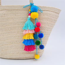 1PC Colorful Bohemia Rainbow Color Pompones Tassels Pompom For Women Purse Accessories Bag Decoration Pendant DIY Jewelry