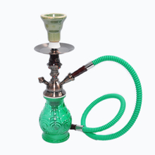 2016 new Alloy one hose hookah water pipe Green chinahookah shisha in glass smoking pipe narguile vase with screw