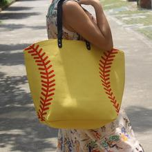 Wholesale 2016 white baseball Jewelry Packaging Blanks Kids Cotton Canvas Sports Bags Baseball Softball Tote Bag for Children