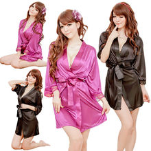 GLANE Newest Hot 2017 Women Plain Silk Satin Robes Bridal Wedding Bridesmaid Bride Bath Robe Girl Underwear Pajamas Cover Ups(China)